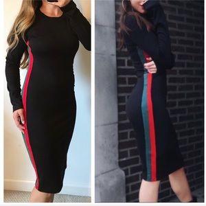 ZARA Trafaluc NWT Black Side Stripe Midi Dress S